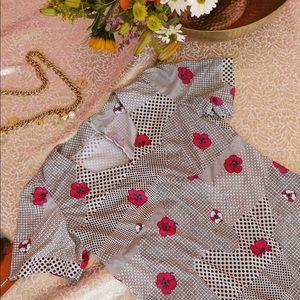 Vtg 70s Floral Polka Dot RARE Dress S M